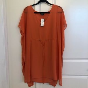 Bebe Orange Cinch Waist Mini Dress